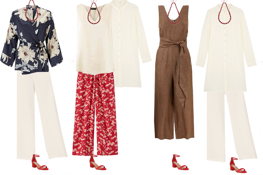 how to discover your personal style, capsule wardrobe pieces, red print trousers, linen jumpsuit, cream trousers, floral print jacket