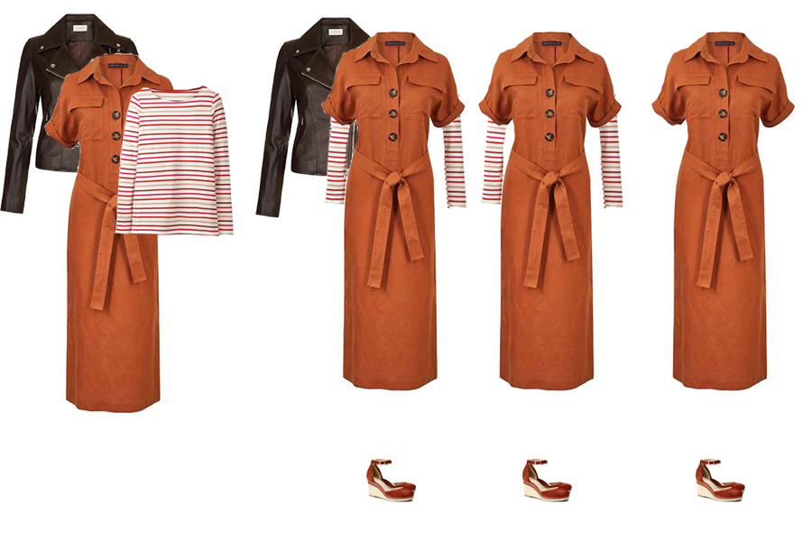 How to layer, layering a rust shirt dress, stripe Breton top and chocolate leather jacket