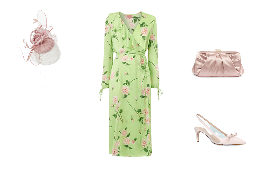 Wedding Guest Dresses, pastel green dress with pink flowers, pink hat shoes and bag