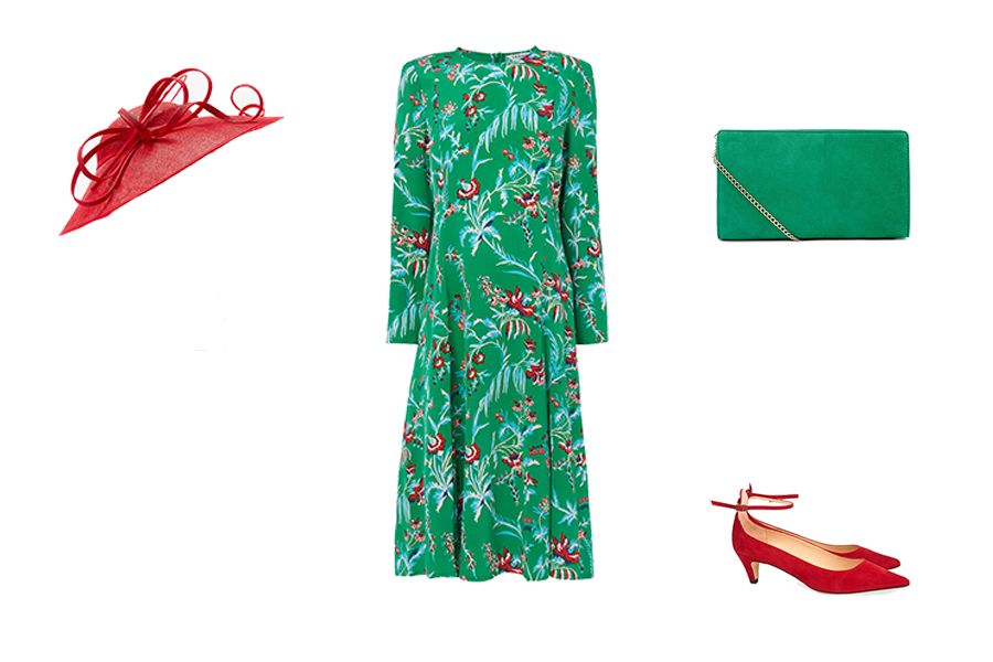 Wedding Guest Dresses, emerald green floral dress, red hat and she's green bag