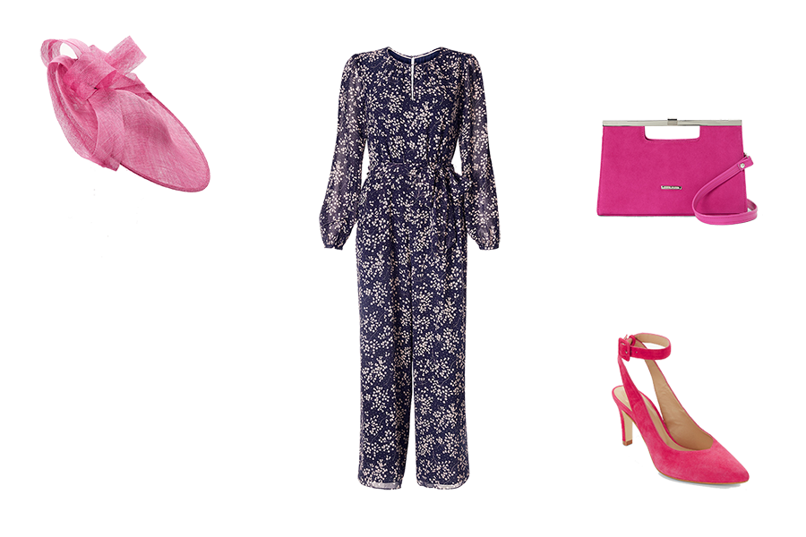 Wedding Guest Dresses, Navy and pale pink silk jumpsuit, hot pink hat, bag and shoes