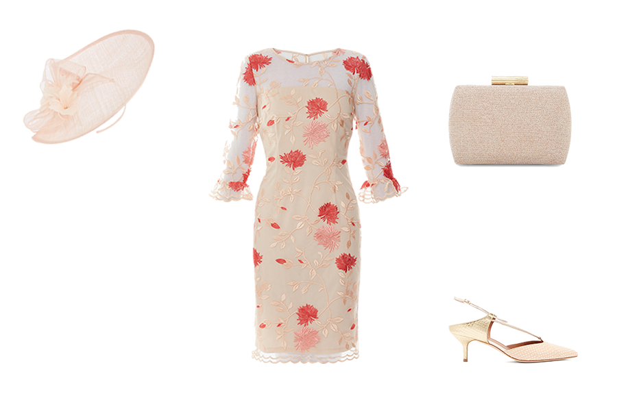 wedding guest dresses, mother of the bride, embroidered peach and coral dress