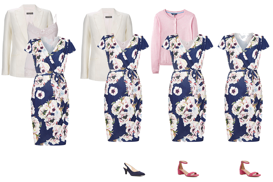 How to Layer, take a wrap dress from work with a blazer and camisole, weekend with a cardigan or alone
