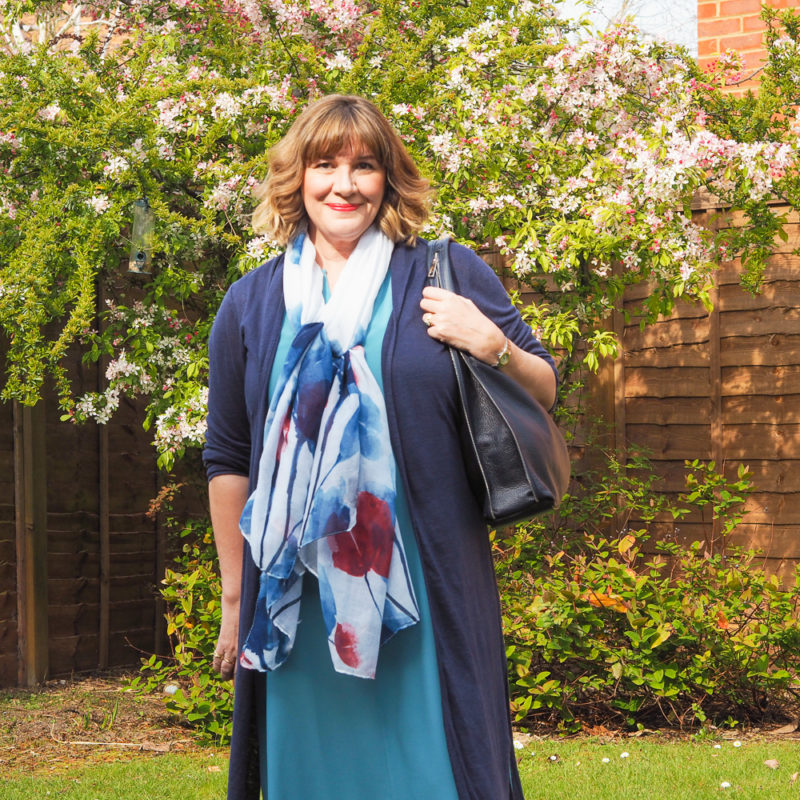 How to wear linen, long length cardigan, teal dress, scarf