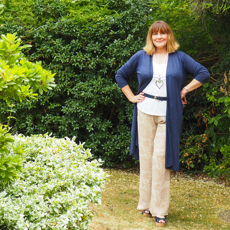 How to wear linen, long length cardigan, white linen vest top, palazzo trousers