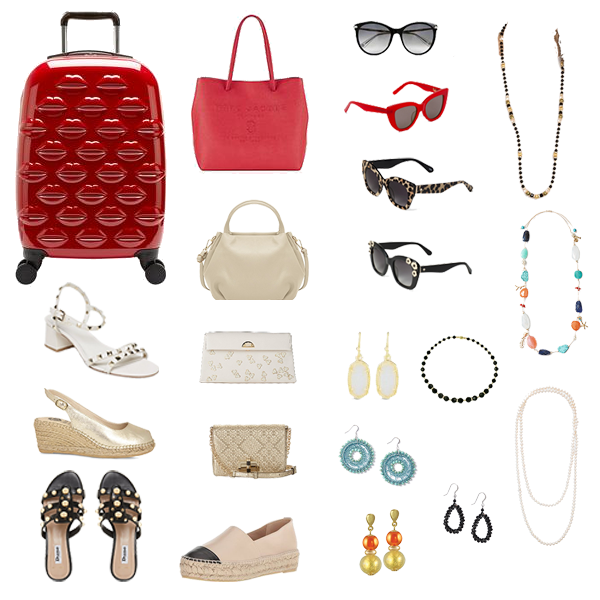 beach holiday capsule wardrobe accessories, red case, cream bead evening bag, espadrilles, gold evening bag, red sunglasses, earrings,