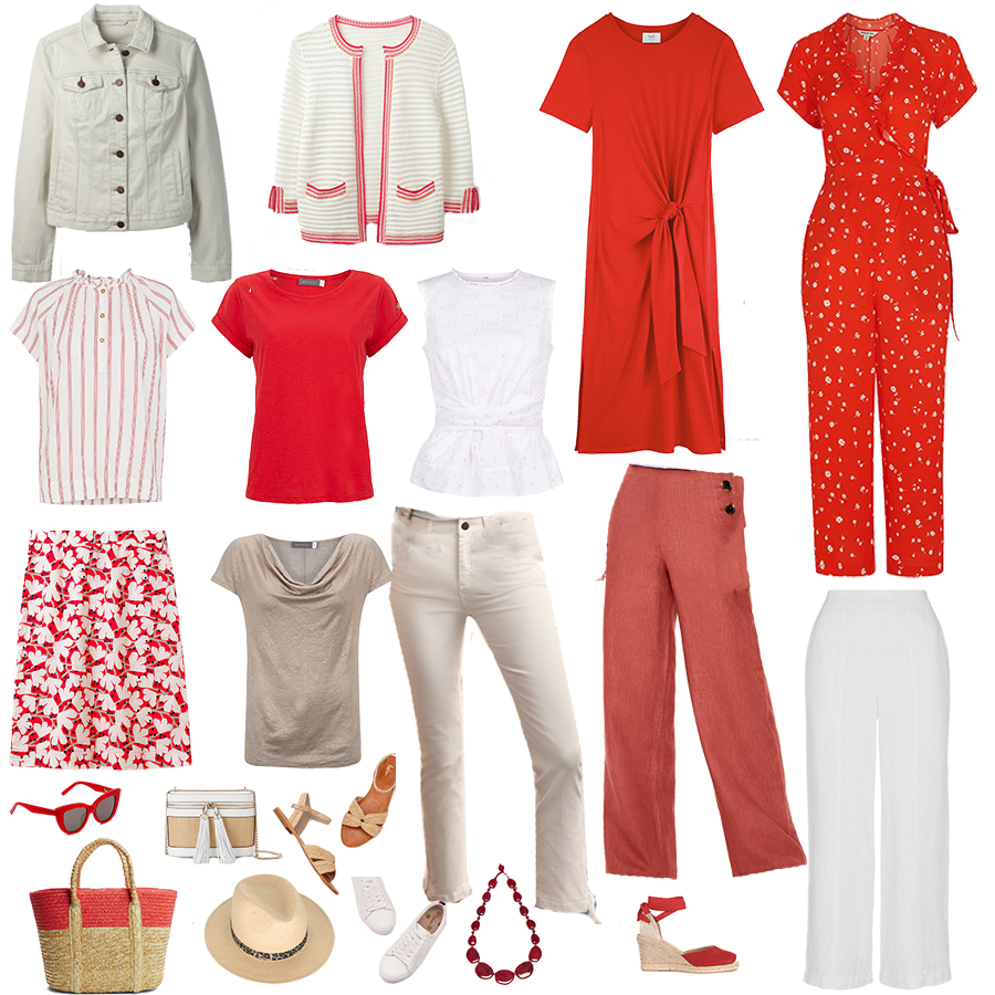 City break holiday capsule wardrobe pieces in red and white