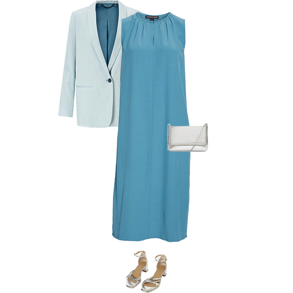 what to wear with a teal dress, silver sandals and bag, pale blue jacket for Cool colouring,