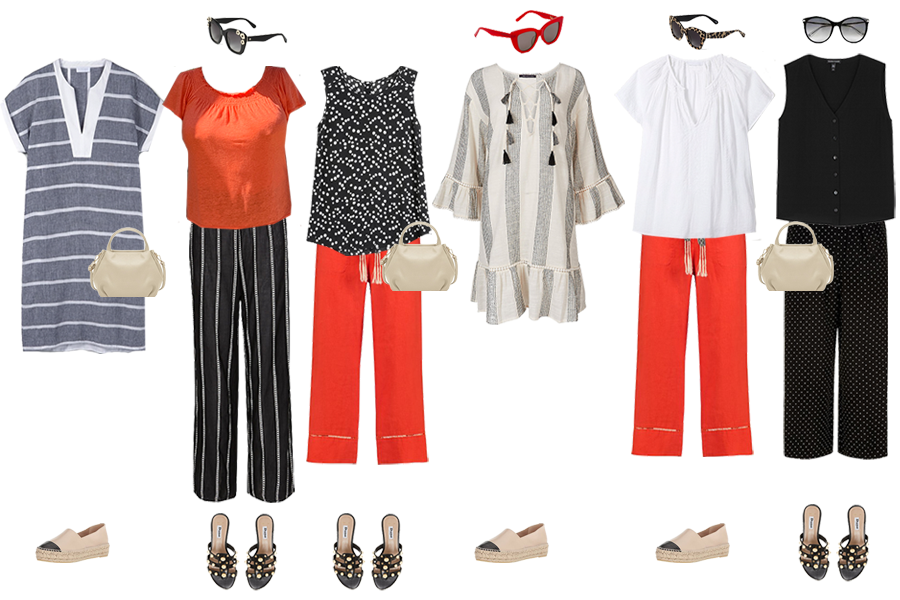 beach holiday capsule wardrobe, day time outfits