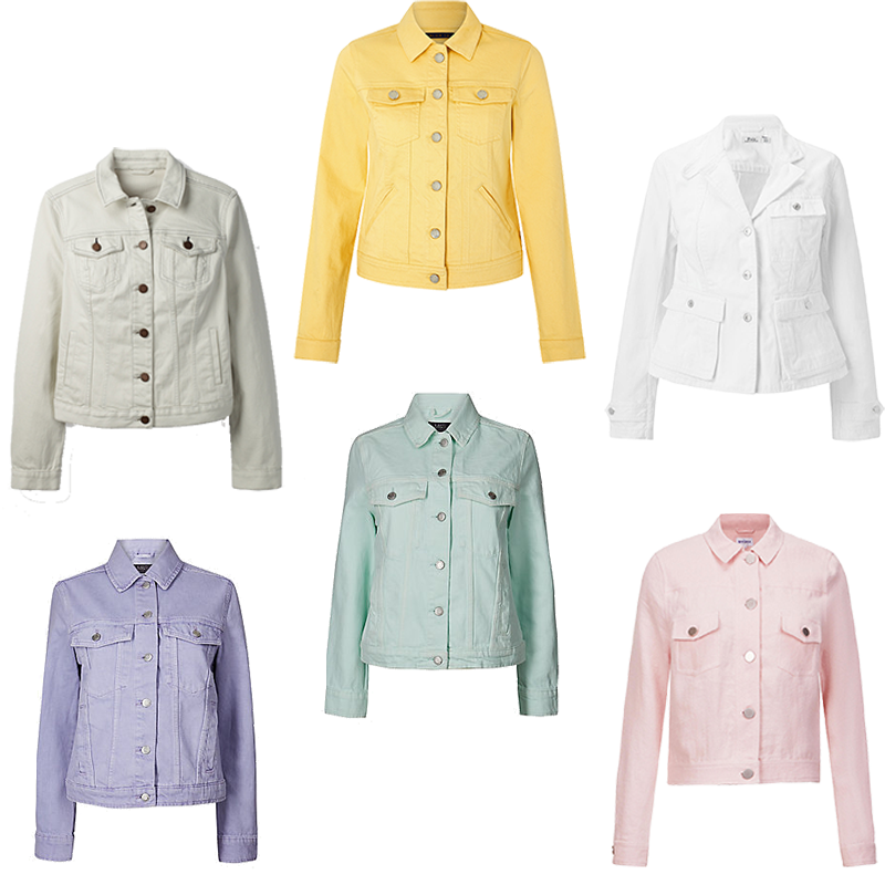 denim jackets in pastel colours and how to wear them