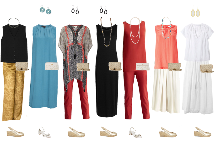 Beach holiday capsule wardrobe, evening outfits