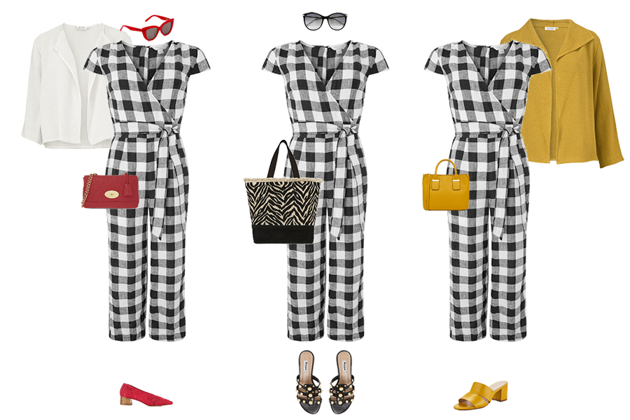How to Wear Linen, black and white gingham jumpsuit, red bag and shoes, red cat eye sunglasses, yellow mules,