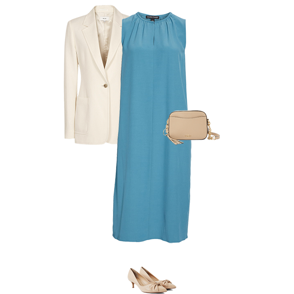 what to wear with a teal dress, cream jacket, bag and shoes for light colouring