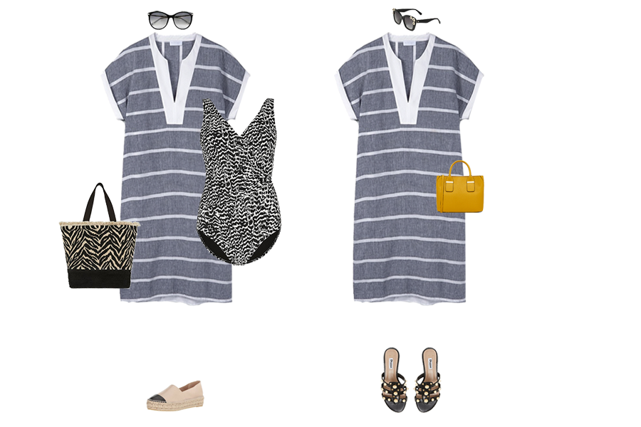 How to Wear Linen, stripe linen dress, for holiday with a swimsuit or casual wear with slides