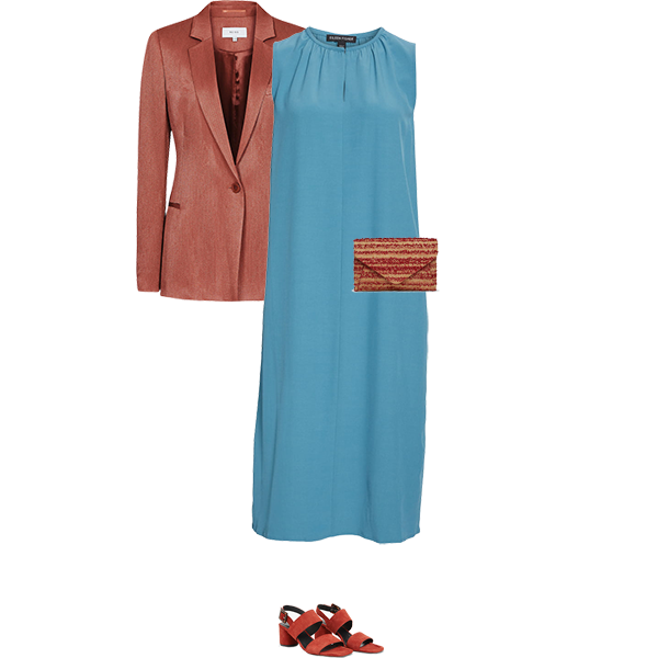 what to wear with a teal dress, rust jacket bag and shoes for warm colouring