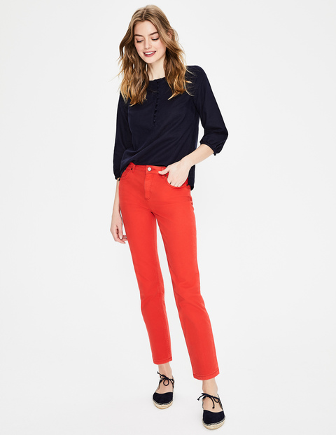 best jeans for women over 40, red ankle skimmer jeans