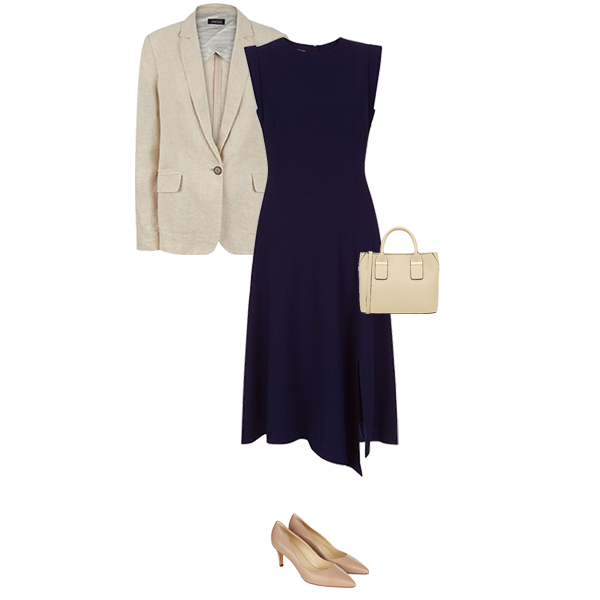 linen blazer, business wear with tailored dress and court shoes