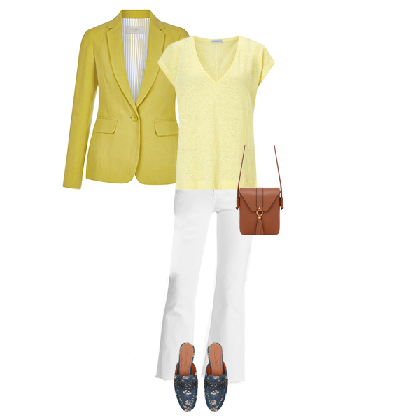 yellow linen blazer with white jeans and backless loafers