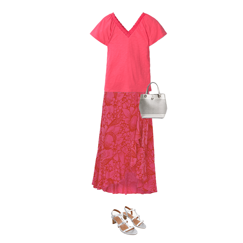 Summer Midi Skirts, pink print skirt, pink top, silver bag and sandals