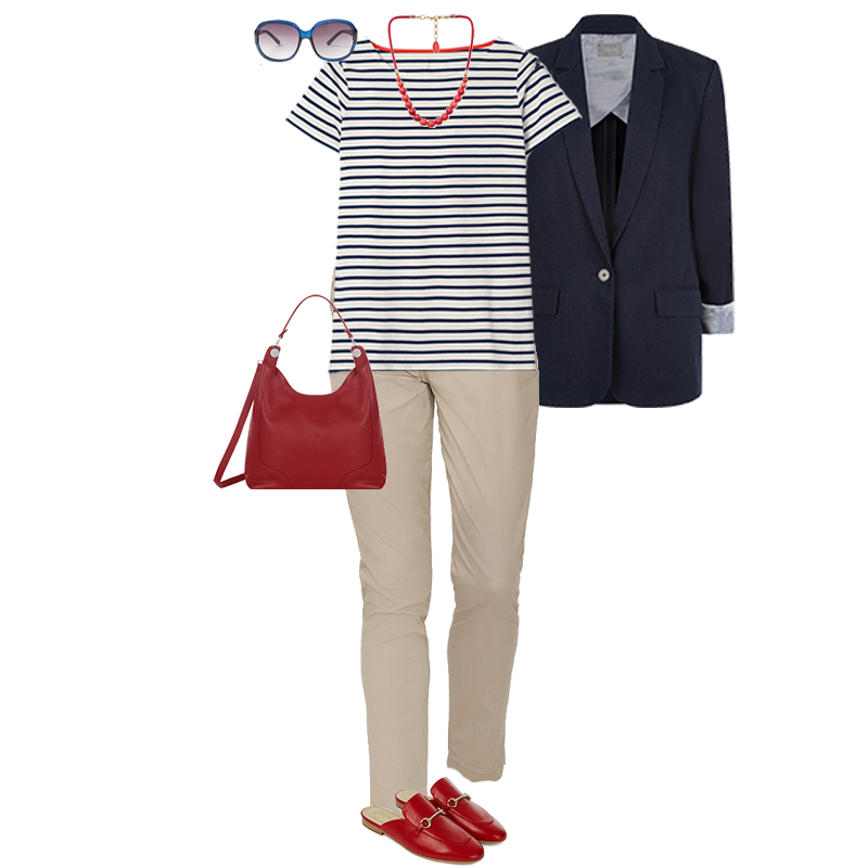 Summer Outfits That Always Work, navy linen blazer, strip t-shirt, chinos, red bag, red loafers