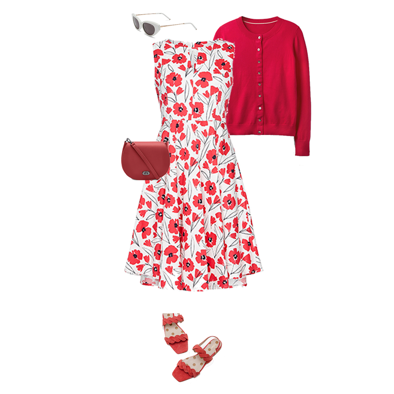 Summer Outfits That Always Work, Red and white print cotton a line dress, red cardigan, red bag, red sandals, white sunglasses