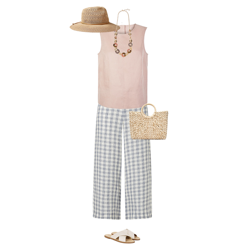 Summer outfits that always work, check linen trousers, linen top, straw hat, basket, slide sandals