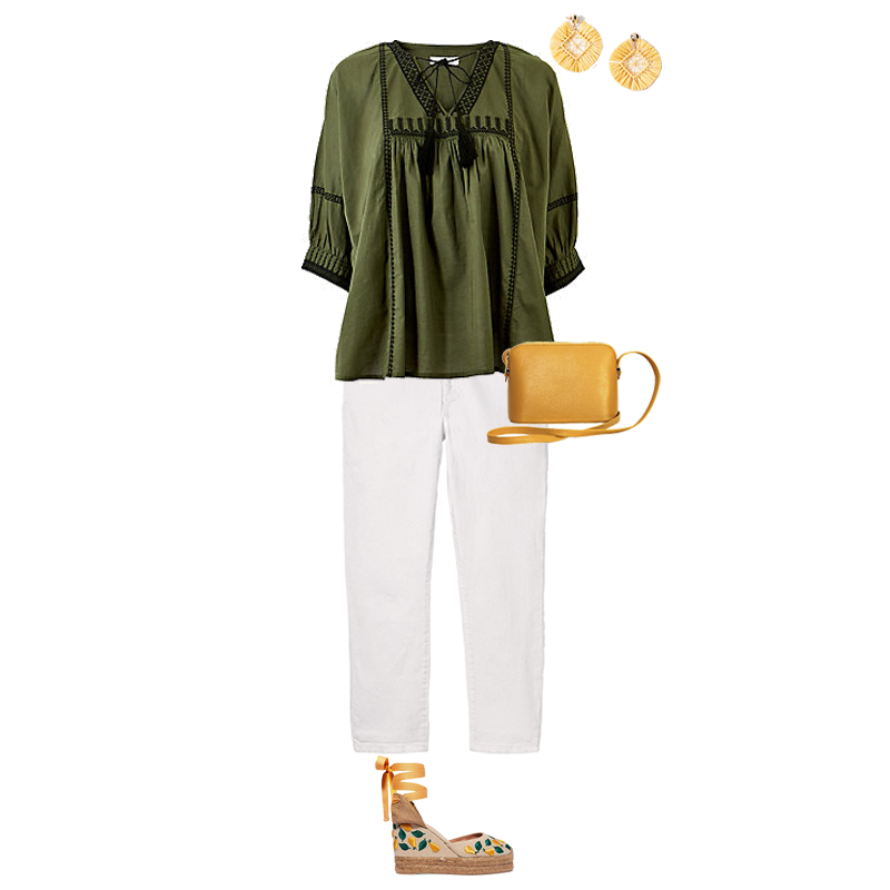 Summer Outfits That Always Work, white jeans, green boho top, raffia earrings, yellow bag , wedge espadrilles