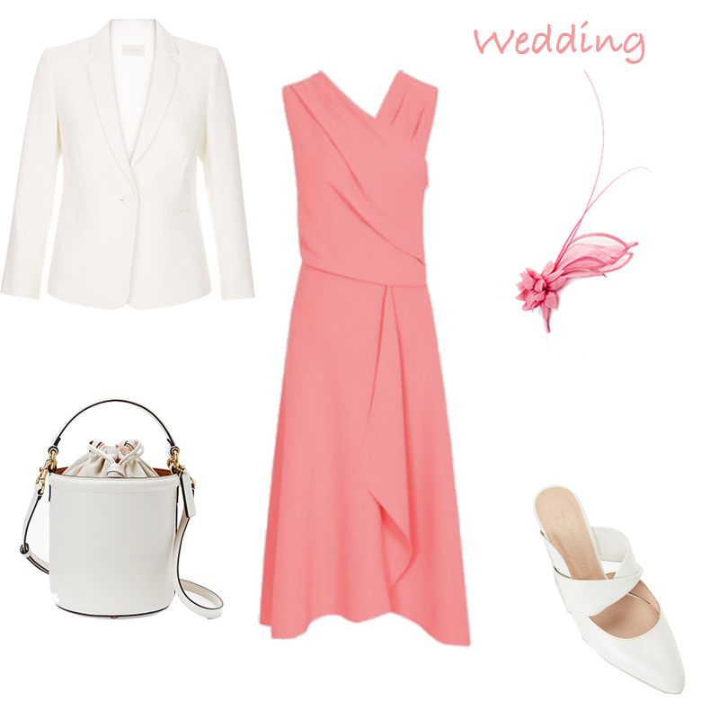 summer dresses for work, weddings and wimbledon, coral wrap style dress, cream jacket, bucket bag and shoes, coral fascinator