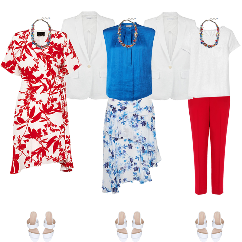 Mini Capsule Wardrobes - bright Colouring, red and white dress, bright blue print skirt and top, red trousers, white jacket