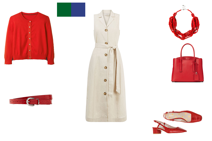 how to mix colours for bright colouring, stone dress and red accessories