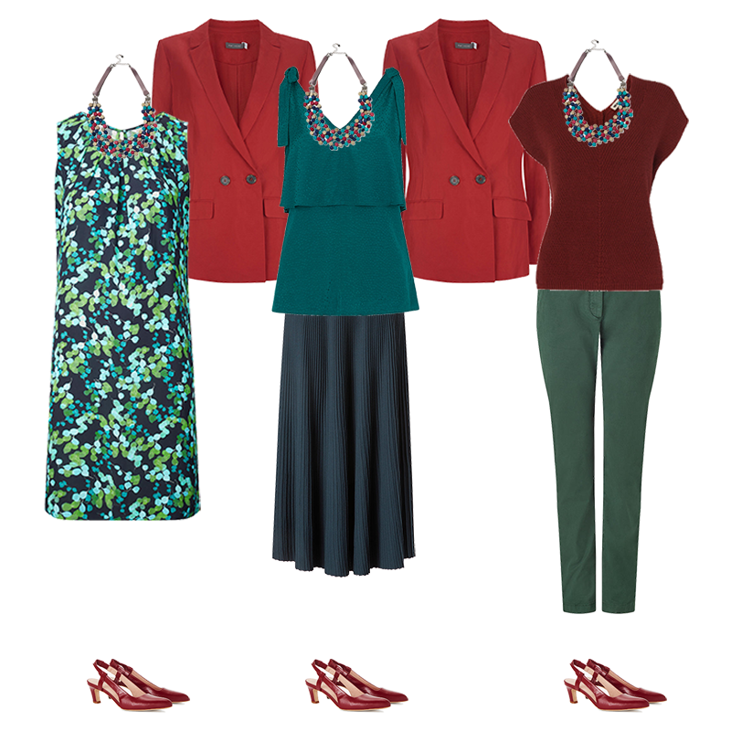 mini capsule wardrobes, deep colouring, green print dress, red jacket, teal skirt and top, red top, green chinos