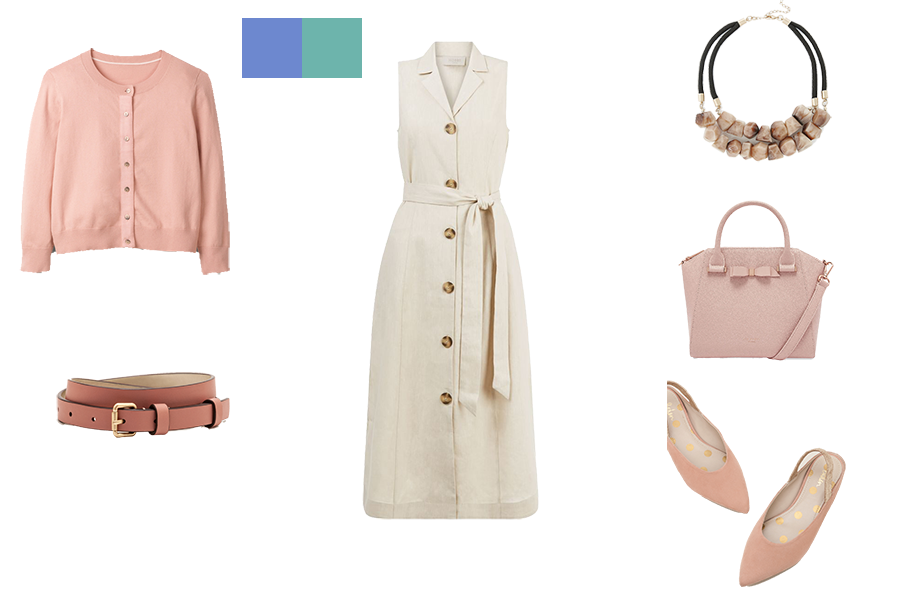 how to mix colours for soft colouring, stone dress and pale pink accessories