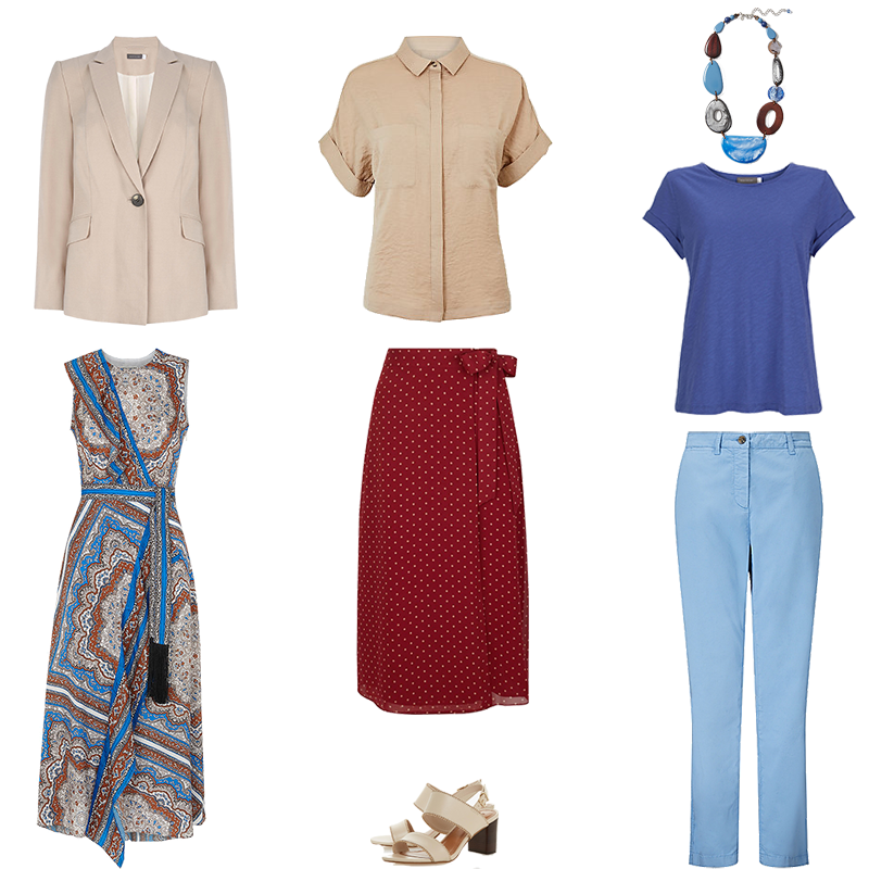 Mini Capsule Wardrobes - soft Colouring, pieces in blue and soft red with beige