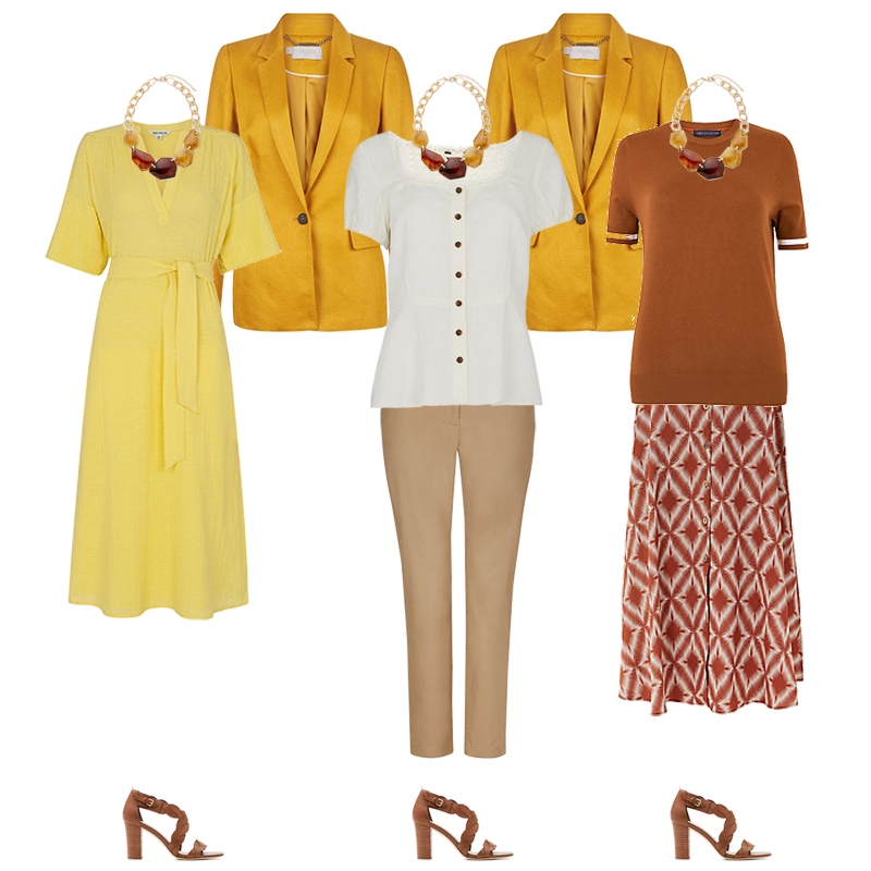 Mini Capsule Wardrobes - Warm Colouring, outfits yellow dress, tan skirt and top, camel trousers cream top