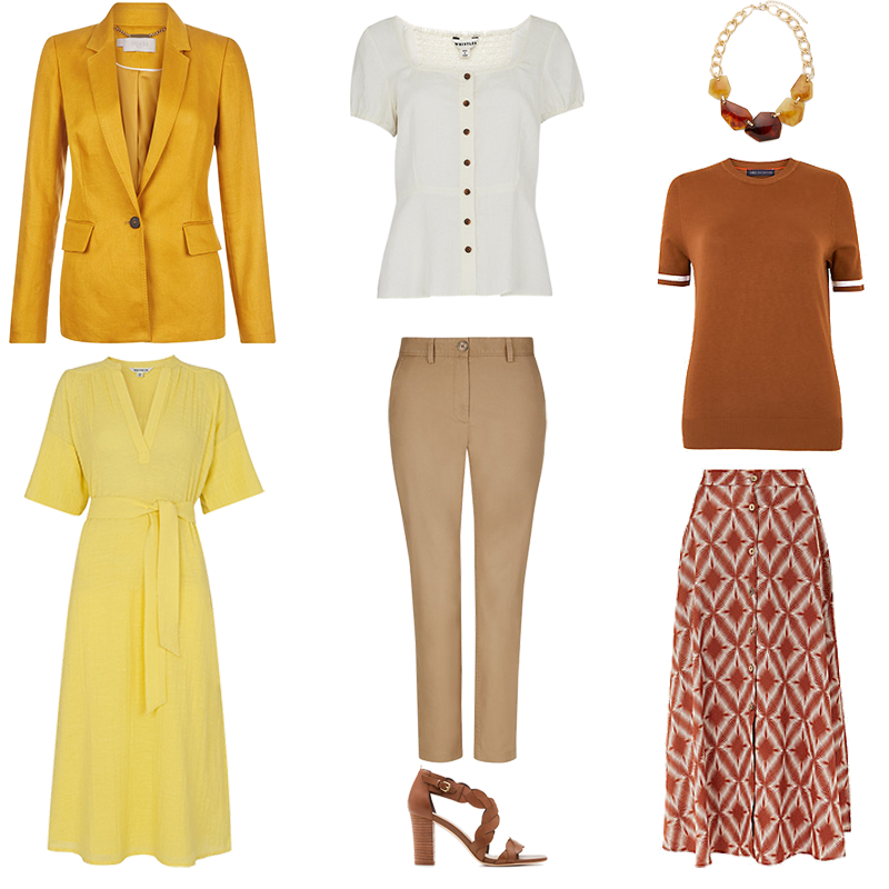 Mini Capsule Wardrobes - Warm Colouring, pieces in yellow, tan, camel, cream